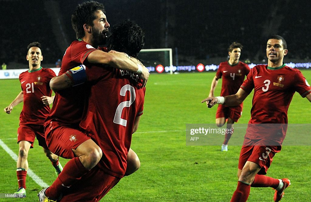 Portugal's national football team players celebrate their victory over Azerbaijan's national football team after their 2014 World Cup qualifying football match at Tofig Bahramov stadium in the Azerbaijan's capital Baku, on March 26, 2013.