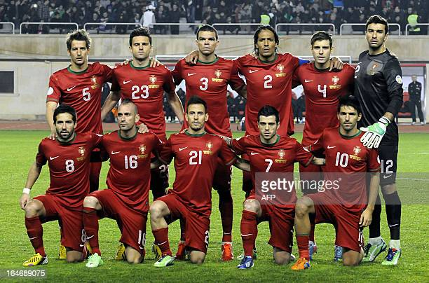 Portugal's national football team players pose for a photo before their 2014 World Cup qualifying football match against Azerbaijan's national...