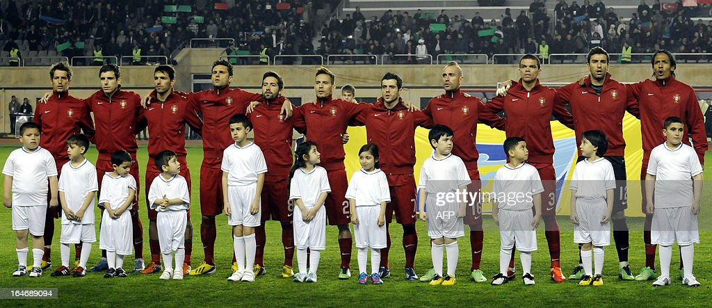 Portugal's national football team players sing their national anthem before 2014 World Cup qualifying football match against Azerbaijan's national football team at Tofig Bahramov stadium in the Azerbaijan's capital Baku, on March 26, 2013.