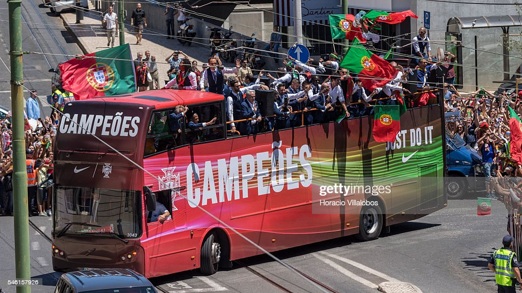 Portugal's National Soccer Team are cheered by fans on on their way to the presidential palace to be greeted and decorated with the Grand Cross of the Order of Merit by President Marcelo Rebelo de Sousa on July 11, 2016 in Lisbon, Portugal. Portuguese player Eder scored the winning goal against France in extra time and Portugal won the Euro 2016.
