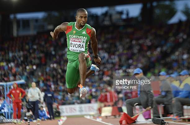 Portugal's Nelson Evora competes in the Men's Triple Jump final during the European Athletics Championships at the Letzigrund stadium in Zurich on...