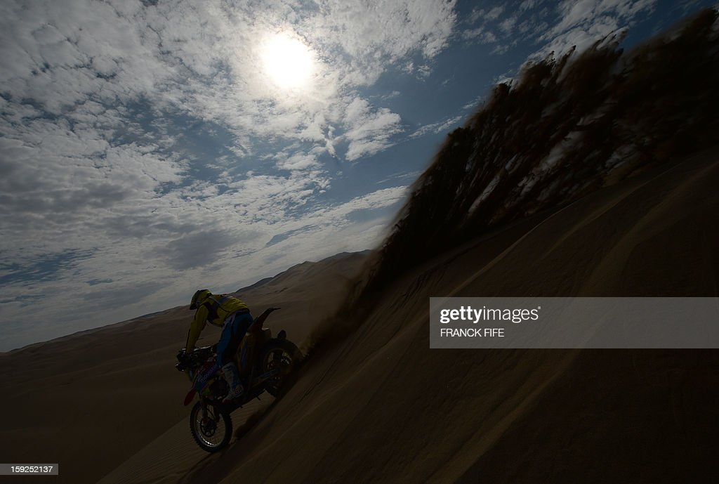 Portugal's Paulo Goncalves competes in the Stage 6 of the 2013 Dakar Rally between Arica and Calama, Chile, on January 10, 2013. The rally is taking place in Peru, Argentina and Chile from January 5 to 20.