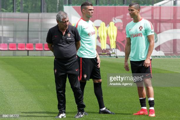 Portugal's Pepe head coach of the Portugal team Fernando Santos and Cristiano Ronaldo attend a training session prior to the 2017 FIFA Confederations...