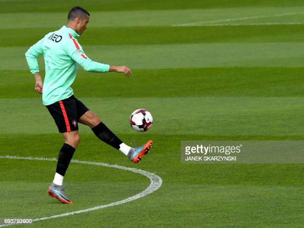 Portugal's player Cristiano Ronaldo attends a training session on June 8 2017 in Riga on the eve of Portugal vs Latvia World Cup qualifier match /...