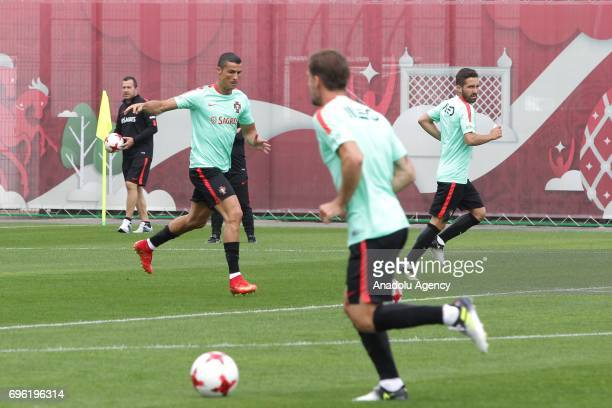 Portugal's player Cristiano Ronaldo attends a training session prior to the 2017 FIFA Confederations Cup in Kazan Russia on June 15 2017