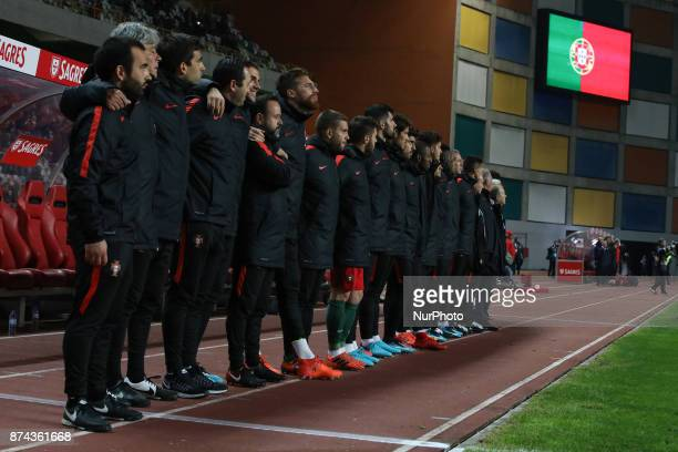 Portugals players during the national anthem before the start of the match between Portugal and United States of America International Friendly at...