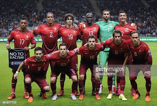 Portugal's players forward Nani defender Bruno Alves midfielder Tiago midfielder Danilo Pereira goalkeeper Rui Patricio forward Cristiano Ronaldo and...