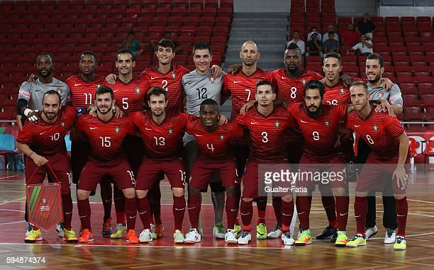 Portugal's players pose for a team photo before the start of the Futsal International Friendly match between Portugal and Morocco at Pavilhao...
