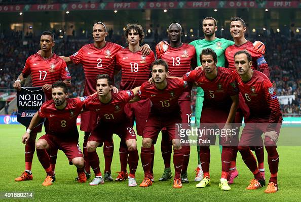 Portugal's players pose for a team photo during the UEFA EURO 2016 Qualifier match between Portugal and Denmark at Estadio Municipal de Braga on...