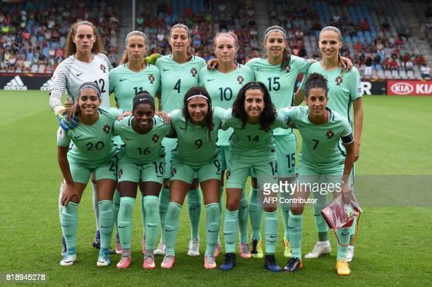 Portugal's players REAR goalkeeper Patricia Morais midfielder Tatiana Pinto defender Silvia Rebelo midfielder Ana Leite defender Carole Costa and...