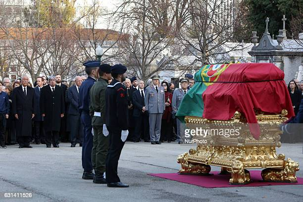 Portugal's President Marcelo Rebelo de Sousa Parliament President Ferro Rodrigues and Portugal's Foreign Minister Augusto Santos Silva stand in front...