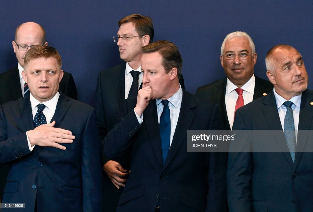 Portugal's Prime minister Antonio Costa, Czech Republic's Prime minister Bohuslav Sobotka, Slovenia's Prime minister Miro Cerar, (First Row, from L) Slovakian Prime minister Robert Fico, Britain Prime minister David Cameron and Bulgarian Prime minister Rosen Plevneliev pose for a family picture during EU - Summit at the EU headquarters in Brussels on June 28, 2016. Prime Minister David Cameron said Tuesday he wants the 'closest possible' relations with the EU after Britain voted to leave the bloc, adding the split should be 'as constructive as possible'. As he arrived at a Brussels summit, Cameron, who is to step down within weeks, told reporters that, while Britain was leaving the EU, 'we mustn't be turning our backs on Europe.' THYS