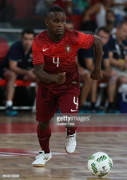 PortugalÕs Re in action during the Futsal International Friendly match between Portugal and Morocco at Pavilhao Fidelidade on August 24 2016 in...