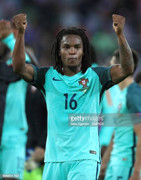 Portugal's Renato Sanches celebrates after the final whistle