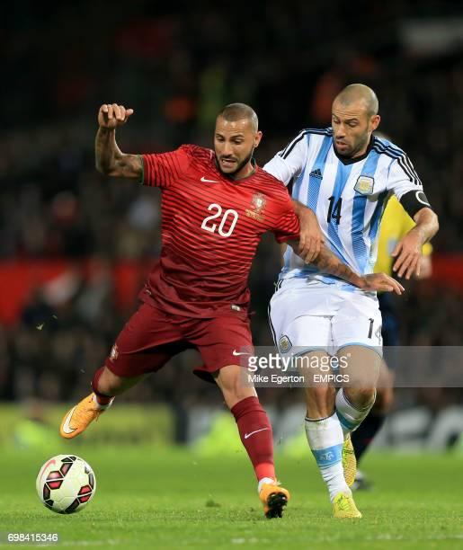 Portugal's Ricardo Quaresma and Argentina's Javier Mascherano battle for the ball