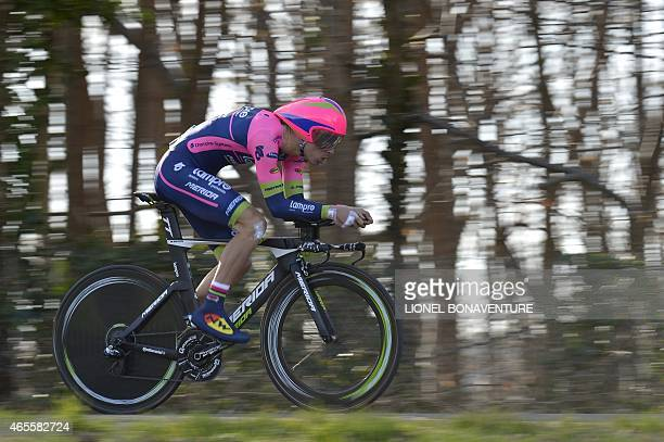 Portugal's Rui Costa competes during the 67 km individual timetrial and prologue of the 73rd edition of the ParisNice cycling race on March 8 in...