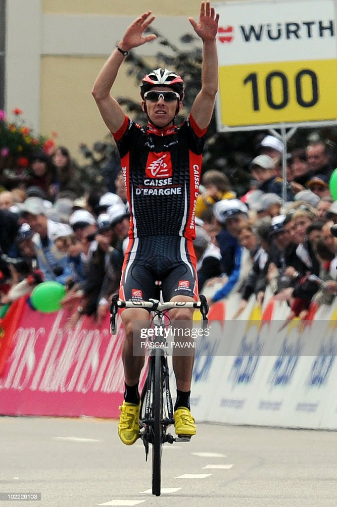 Portugal's Rui Faria da Costa of the Caisse d'Epargne team celebrates as he crosses the finish line of the eighth and penultimate stage of the Tour of Switzerland on June 19, 2010 over 172 km between Wetzikon and Liestal. He finished 15 sec ahead of teammate Jose Gil Rojas and Belgian Maxime Monfort of HTC Columbia.