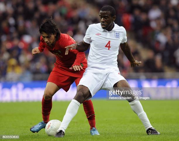 Portugal's Rui Pedro and England's Fabrice Muamba battle for the ball