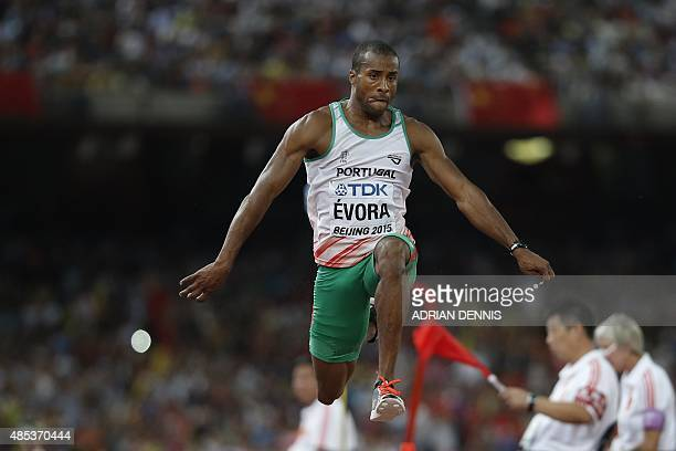 Portugal's silver medallist Nelson Evora competes in the final of the men's triple jump athletics event at the 2015 IAAF World Championships at the...