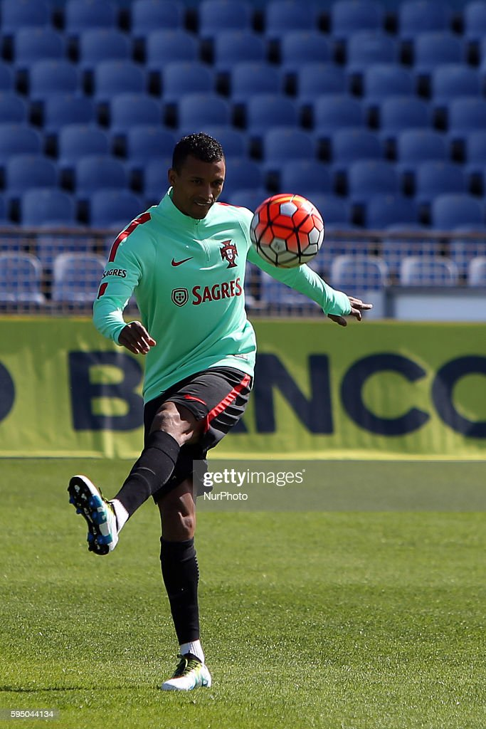 Portugal's soccer forward Nani during a practice session at the Restelo stadium in Lisbon Portugal on March 22 ahead of the friendly matches against...