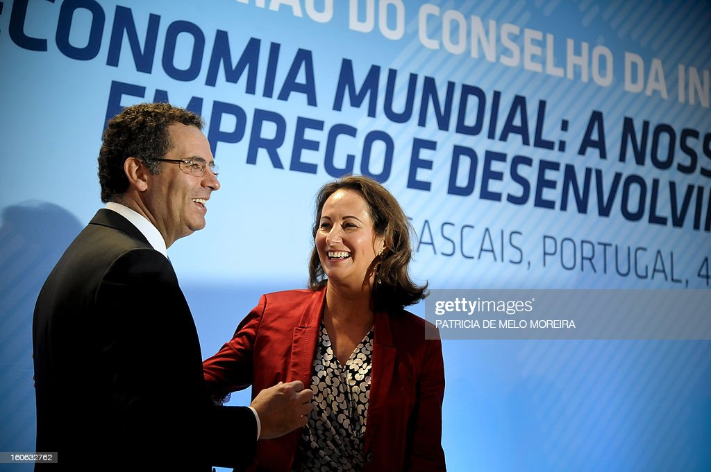 Portugal's Socialist Party leader Antonio Jose Seguro (L) greets France's Socialist Party member and French region Poitou-Charentes president Segolene Royal (R) during the Council of the Socialist International in Cascais on February 4, 2013. The Socialist International is a worldwide association of social democratic, socialist and labour parties.