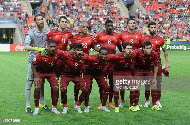 Portugal's team players line up prior to the start of the UEFA Under 21 European Championship 2015 final football match between Sweden and Portugal...