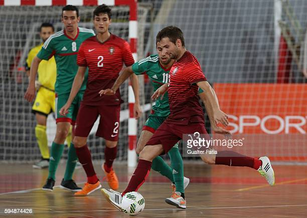 Portugal's Tiago Brito in action during the Futsal International Friendly match between Portugal and Morocco at Pavilhao Fidelidade on August 24 2016...