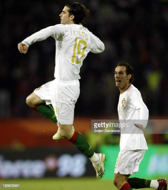 Portugal's Tiago Mendes celebrates after scoring the goal with his teammate Armando Teixeira against Serbia during their Euro 2008 Group A qualifying...