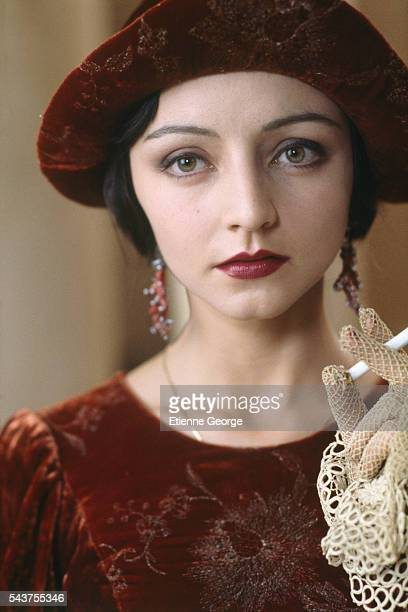 Portugese actress Maria de Medeiros on the set of the film 'Henry & June', directed by Philip Kaufman and based on French writer Anais Nin's novel by the same title.