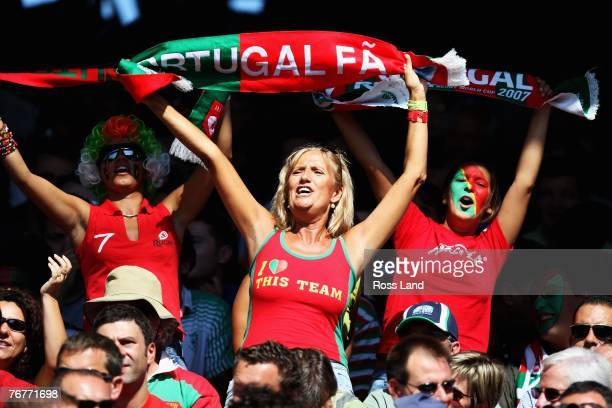 Portugese fans cheer on their team during match fourteen of the Rugby World Cup 2007 between New Zealand and Portugal at the Gerland Stadium on...