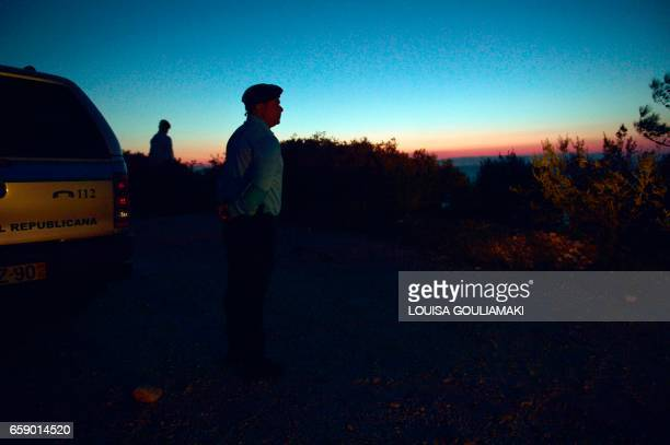 Portugese officers serving for the European Border and Coast Guard Agency patrol in Skala Sykamias at the north part of the island of Lesbos on March...