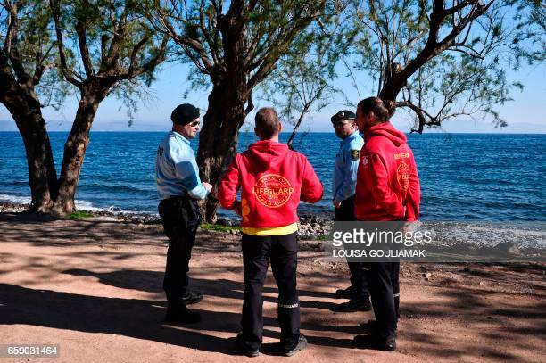 Portugese officers serving for the European Border and Coast Guard Agency share informations with Proactiva lifeguards during their routine patrol in...