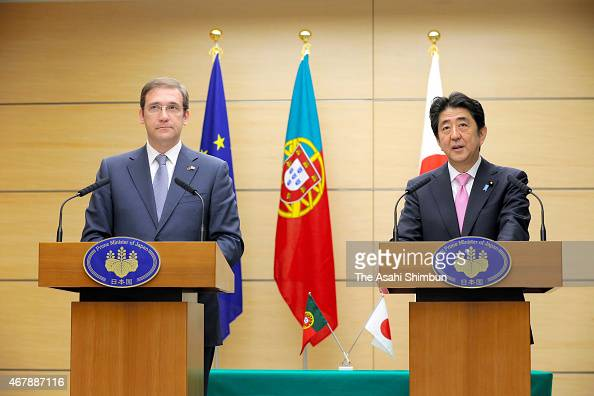 Portugese Prime Minister Pedro Passos Coelho and Japanese Prime Minister Shinzo Abe attend a joint press conference after their meeting at Abe's...