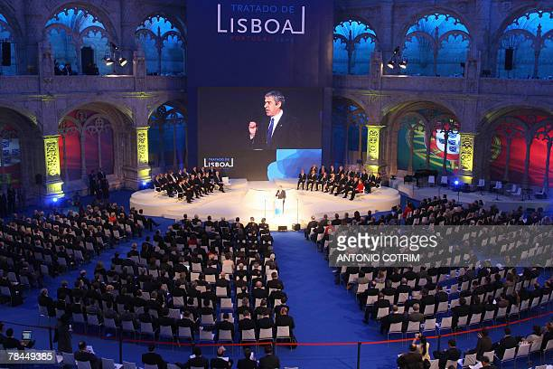Portugual's Prime Minister Jose Socrates gives a speech during the signing ceremony of ceremony of the Lisbon Treaty 13 December 2007 at Jeronimos...