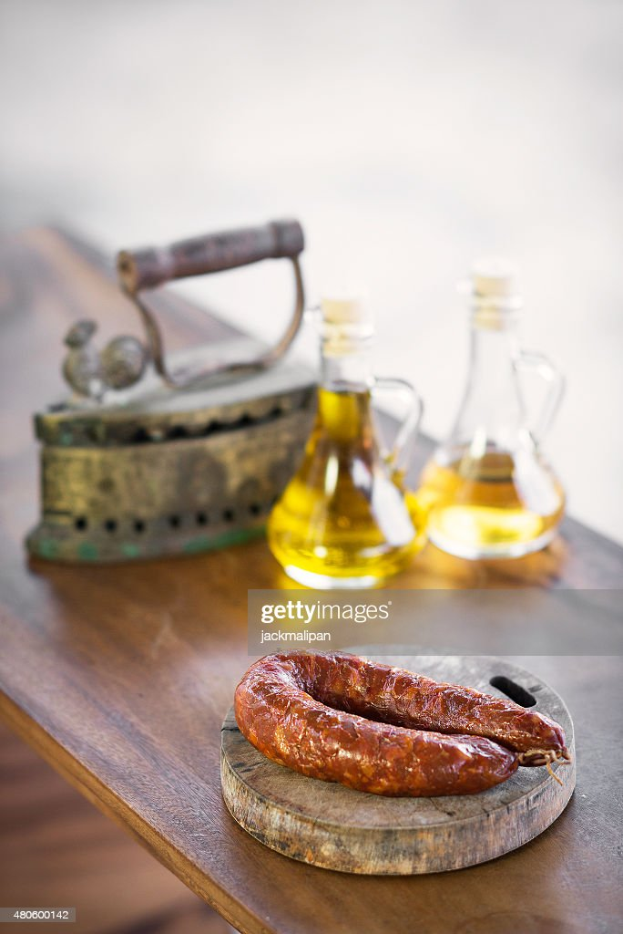 portuguese  and spanish traditional smoked pork sausage : Stock Photo