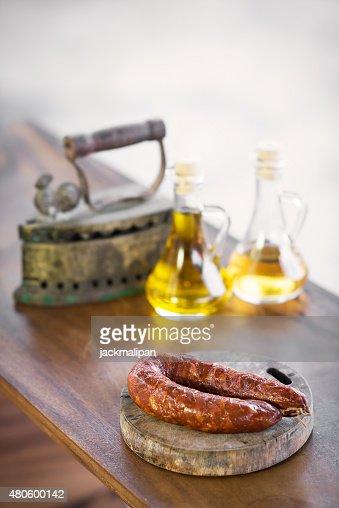 portuguese  and spanish traditional smoked pork sausage : Stock Photo