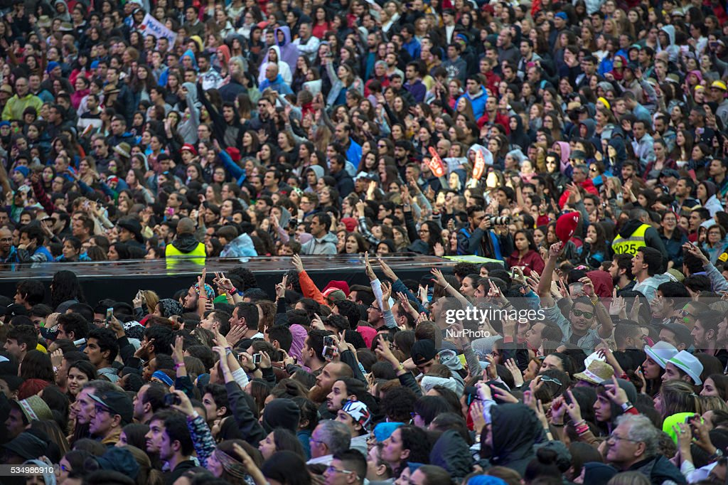 A. Portuguese band of the moment acts on the main stage of the Rock in Rio with especial inviter of Gabriel O Pensador (The Thinker). Lisbon, Portugal, on May 28, 2016.