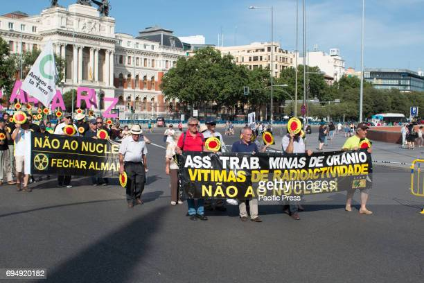 Portuguese banner against Nuclear energy Hundreds of people attended the green peace march against nuclear energy