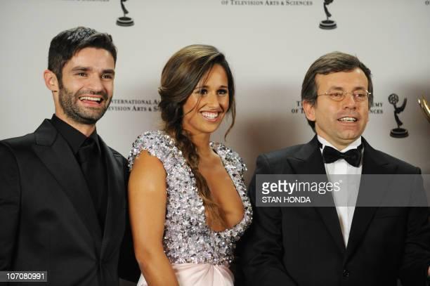 Portuguese Bernardo Bairrão CEO Plural Entertainment Portugal and Hugo de Sousa Executive Producer hold the Telenovela Award for 'My Love' at the...