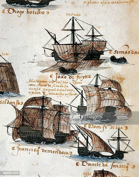 Portuguese caravels illustration from Memory of the Armadas that from Portugal passed to India Ms 1551 16th century