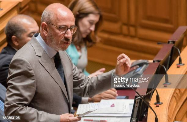 Portuguese centreright CDSPP party member of Parliament Telmo Coreia delivers remarks criticizing the government on its lack of action during...