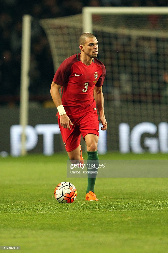 Portuguese defender <a gi-track='captionPersonalityLinkClicked' href=/galleries/search?phrase=Pepe+-+Portuguese+Soccer+Player&family=editorial&specificpeople=4401229 ng-click='$event.stopPropagation()'>Pepe</a> during the match between Portugal and Bulgaria Friendly International at Estadio Municipal de Leiria on March 25, 2016 in Lisbon, Portugal.