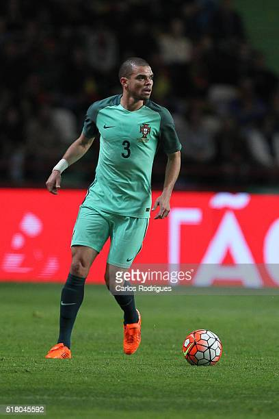 Portuguese defender Pepe during the match between Portugal and Belgium Friendly International at Estadio Municipal de Leiria on March 29 2016 in...