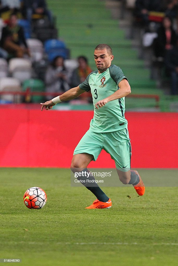 Portuguese defender <a gi-track='captionPersonalityLinkClicked' href=/galleries/search?phrase=Pepe+-+Portuguese+Soccer+Player&family=editorial&specificpeople=4401229 ng-click='$event.stopPropagation()'>Pepe</a> during the match between Portugal and Belgium Friendly International at Estadio Municipal de Leiria on March 29, 2016 in Lisbon, Portugal.
