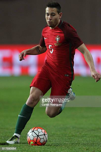 Portuguese defender Raphael Guerreiro during the match between Portugal and Bulgaria Friendly International at Estadio Municipal de Leiria on March...