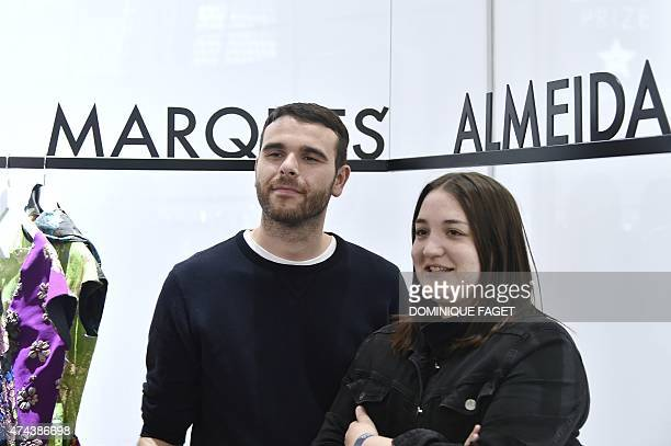 Portuguese designers Paulo Almeida and Marta Marques of 'Marques'Almeida' first prize of the LVMH young fashion designer pose during the awards...