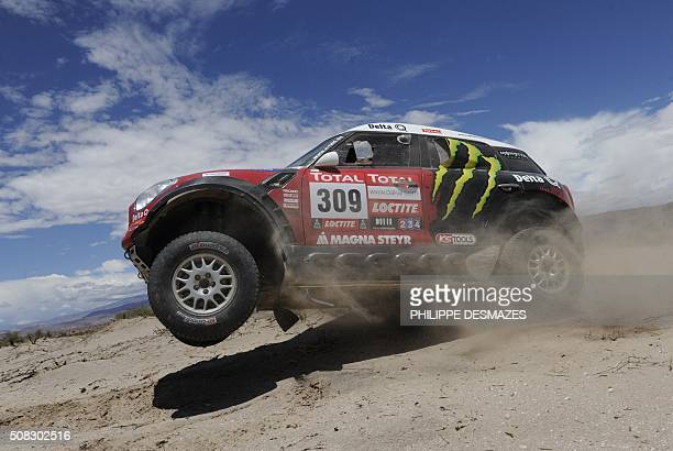 Portuguese driver Ricardo Leal Dos Santos steers his Mini during the Stage 5 of the 2012 Dakar between Chilecito and Fiambala Argentina on January 5...