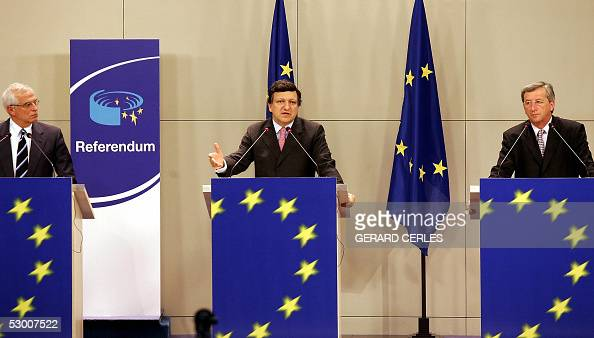 Portuguese EU Commission Chief Jose Manuel Barroso talks during a joint prss conference with Luxembourg's Prime Minister and current Chairman of the...