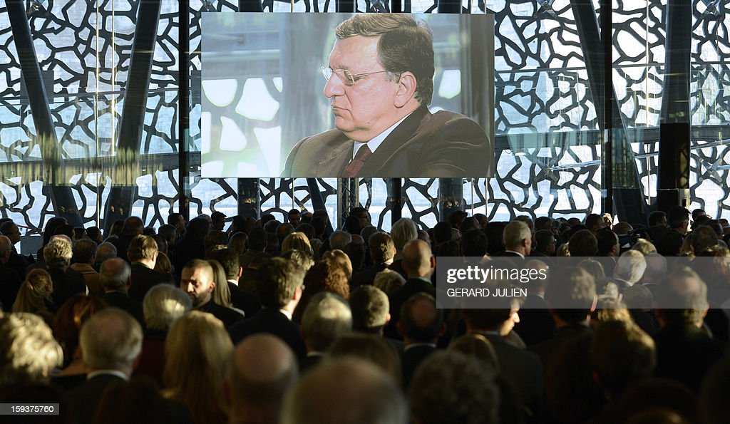 Portuguese European Commission President Jose Manuel Barroso gives a speech on January 12, 2013 in Marseille, southern France, on the construction site of the Museum of Civilisations from Europe and the Mediterranean (MUCEM) as part of the opening festivities marking Marseille as the 2013 European Capital of Culture.