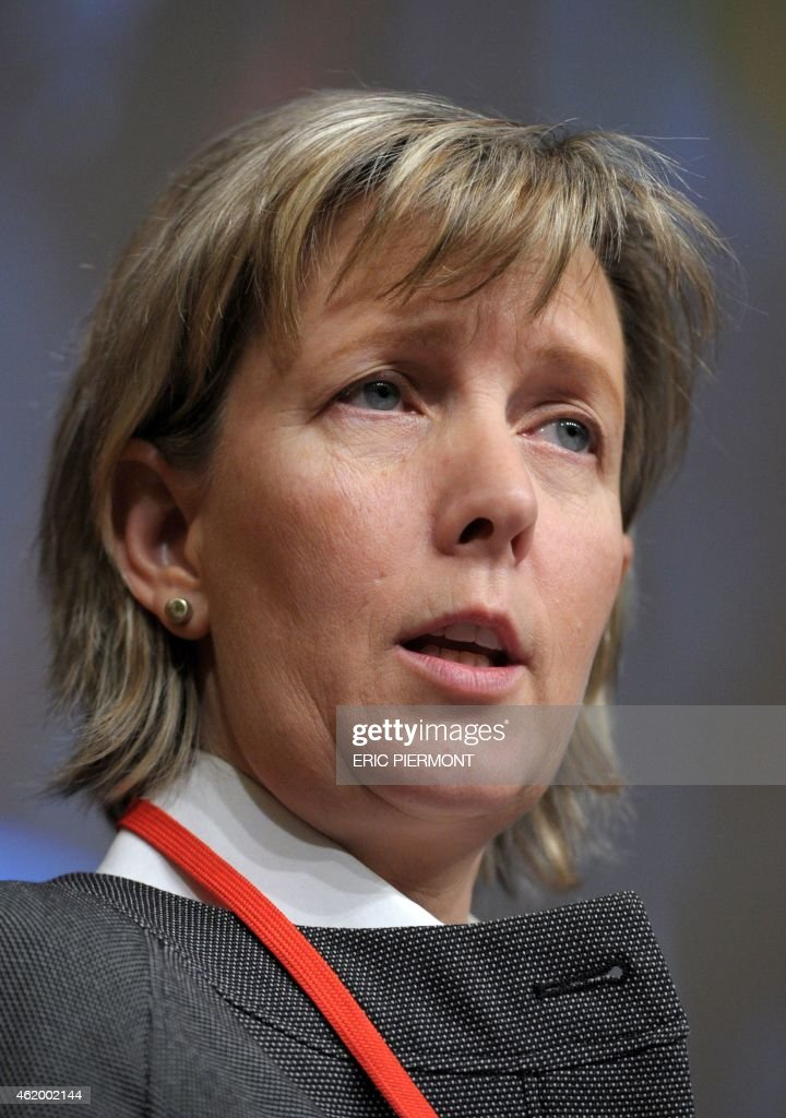 Portuguese Finance Minister, Maria Luis Albuquerque, addresses a keynote speech during a symposium Les Entretiens du Tresor at the Economy Ministry in Paris on January 23, 2015. AFP PHOTO / ERIC PIERMONT